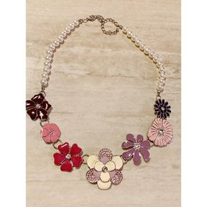 Multicolored Flower and Pearl Necklace